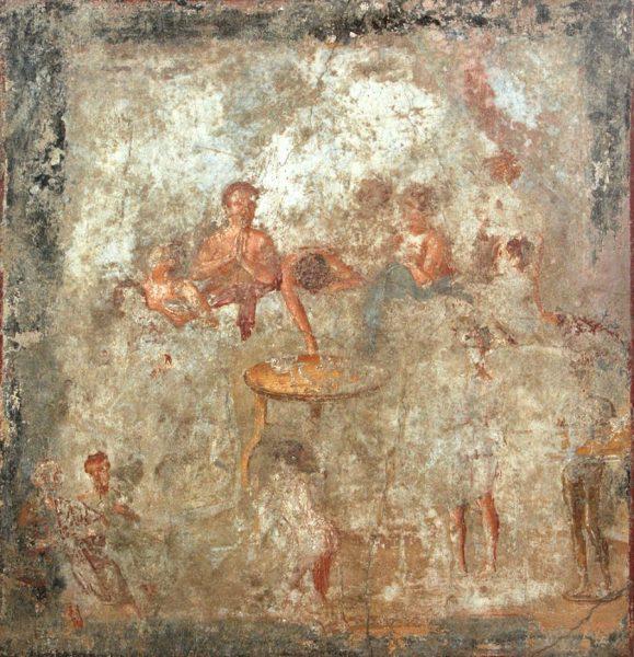Figg. 1-3 - Pompei, Scene di banchetto e tavola imbandita, I d.C.