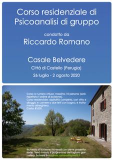 Corso residenziale di Psicoanalisi di gruppo. Città di Castello, 26/7-2/8/2020