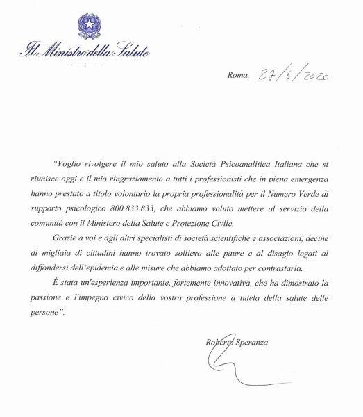 Lettera di ringraziamento alla SPI del Ministro della Salute R. Speranza 1